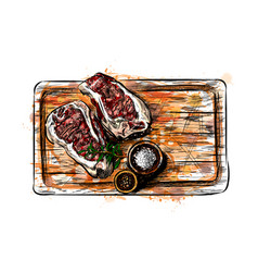 Pieces of meat on a cutting board vector