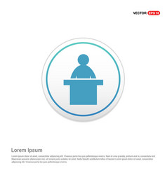 Presentation icon - white circle button vector