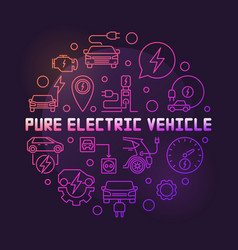 pure electric vehicle round colored line vector image