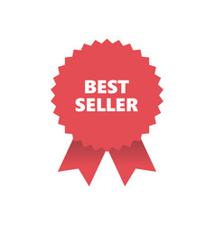 red award medal with ribbons banner best seller vector image