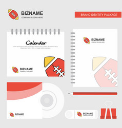 rugby ball logo calendar template cd cover diary vector image