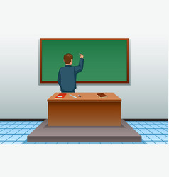 School teacher writing on blackboard vector