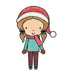 scribble christmas little girl vector image