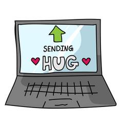 Sending virtual hug corona virus crisis text on vector