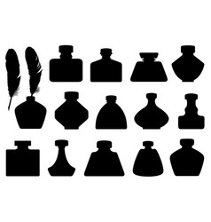 Set of different inkwells vector