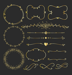 set of golden decorative calligraphic elements vector image