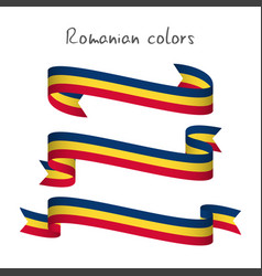 Set of three ribbons with the romanian tricolor vector