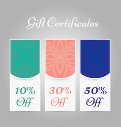 Set of vintage arabic style gift certificates vector