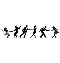 Set three negative dancing couples silhouettes vector