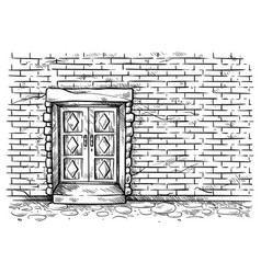 sketch hand drawn old double rectangular wooden vector image