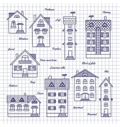 Sketch of houses of different heights vector