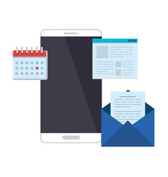 Smartphone with calnedar and email vector