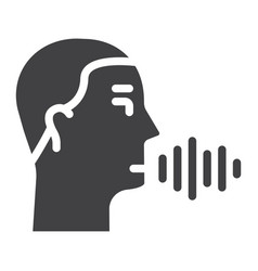 Speech recognition solid icon voice control vector
