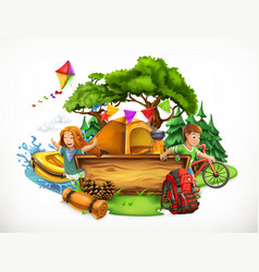 Summer camp camping and adventure 3d vector