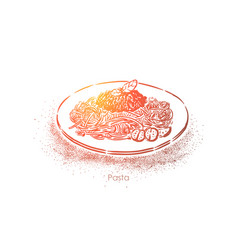 Tasty pasta macaron plate with bolognese sauce vector