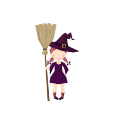 the witch holding a broom halloween funny and vector image
