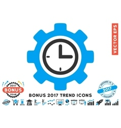 Time Setup Gear Flat Icon With 2017 Bonus Trend vector