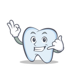 Tooth character cartoon style call me vector