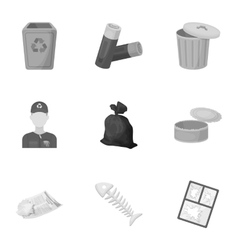 Trash and garbage set icons in monochrome style vector image vector image