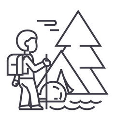 Traveller in foresttourist hiking tent vector