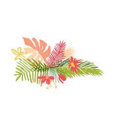 Tropical hand drawn flower leaf aloha summer vector