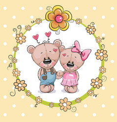 two cute cartoon bears vector image