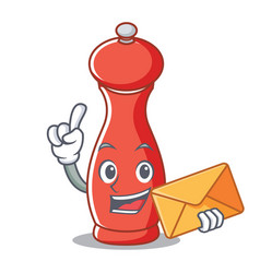 With envelope pepper mill character cartoon vector