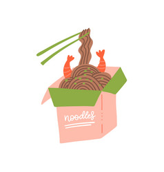 wok box with shrimps and soba noodles traditional vector image