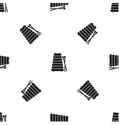 Xylophone and sticks pattern seamless black vector