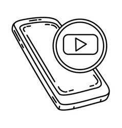 youtube icon doodle hand drawn or outline icon vector image
