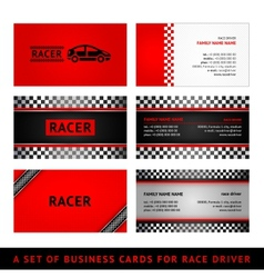 Business cards red race - first set vector image