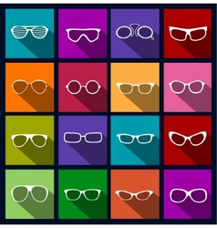 colorful icons sunglasses vector image