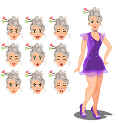 female avatar expressions vector image vector image