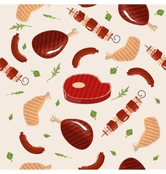 Grill Barbecue Meat Seamless Pattern in flat style vector image