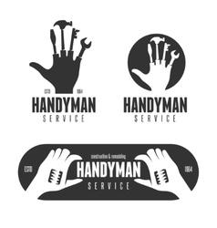 Handyman logos emblems badges in vintage style vector image vector image