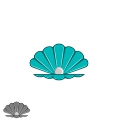 Shell pearl logo open seashell with a pearl vector image vector image