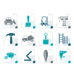 stylized building and construction equipment icons vector image