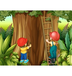 Boy and girl climbing ladder up the tree vector image