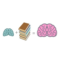 Brain and books Use reading to mind A stack of vector image