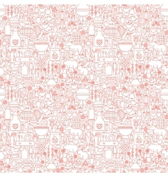 Line BBQ White Seamless Pattern vector image