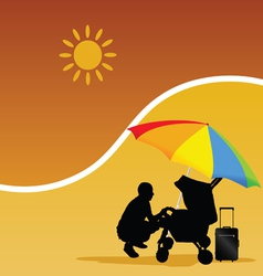 man and baby on the beach vector image vector image
