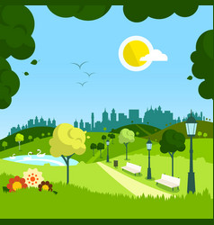 nature empty landscape with city on background vector image vector image
