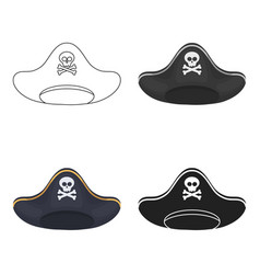 pirate hat icon in cartoon style isolated on white vector image vector image
