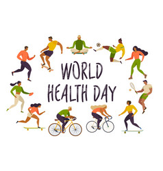 world health day healthy lifestyle roller skates vector image vector image
