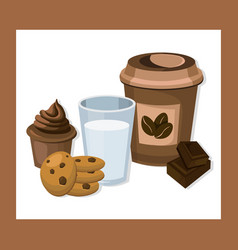 glass of milk and coffee with biscuits and muffin vector image