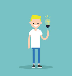 idea concept aha moment young smiling blonde boy vector image vector image