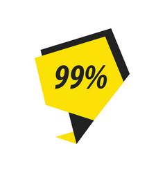 Ninety nine percent label black yellow vector