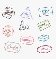 rubber visa stamps vector image