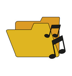 white background with music folder vector image vector image