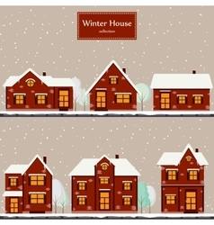 Winter houses collection vector image